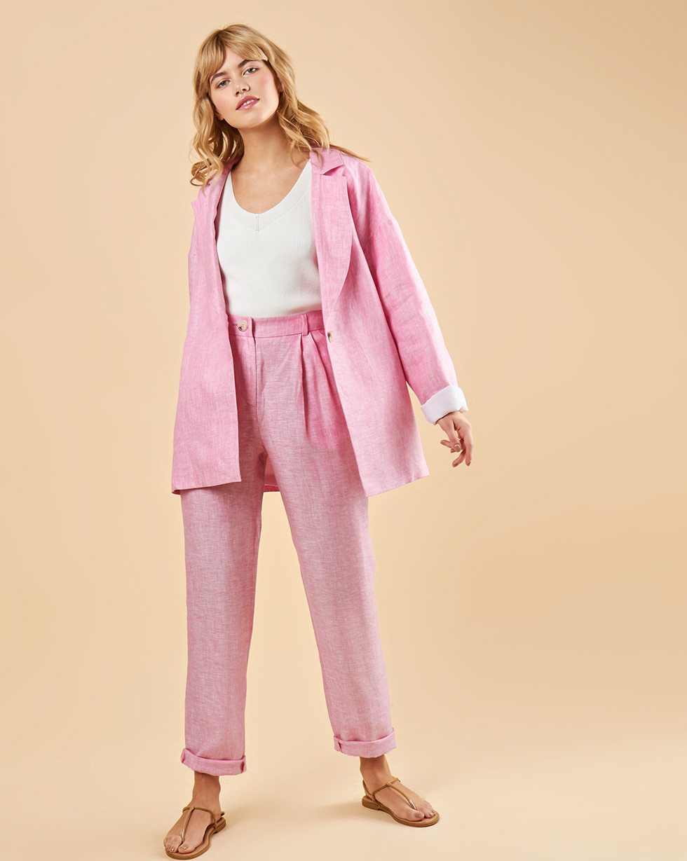 12Storeez Брюки с защипами изо льна (розовый) 12storeez брюки изо льна со складками черный