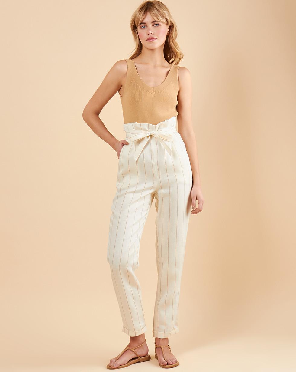 12Storeez Брюки с защипами льняные (молочный в полоску) где купить льняные брюки женские
