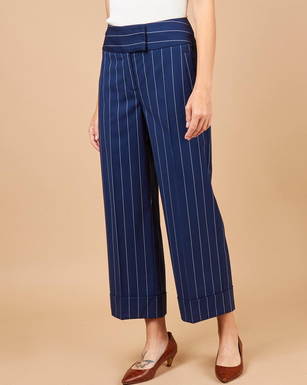 12Storeez Брюки с манжетами в полоску (синий в полоску) брюки personage цвет синий