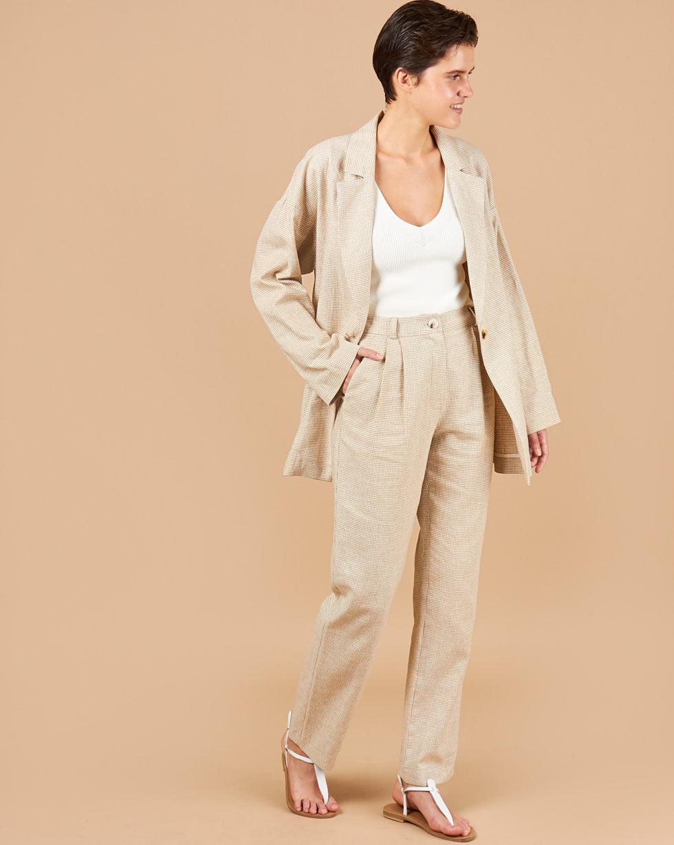 12Storeez Брюки с защипами изо льна (бежевый) брюки из лиоцелла и льна