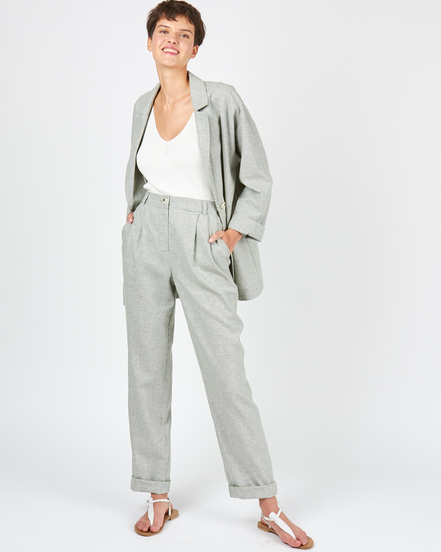 12Storeez Брюки с защипами изо льна (фисташковый) брюки из лиоцелла и льна