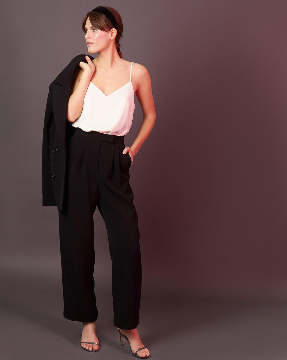 12Storeez Брюки свободные со складками (чёрный) брюки с завышенной талией и поясом и складками