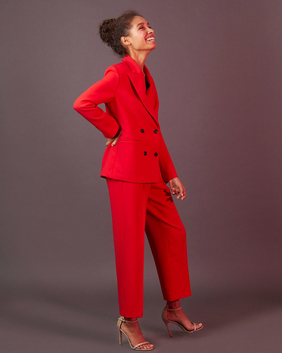 12Storeez Брюки свободные со складками (красный) брюки с завышенной талией и поясом и складками