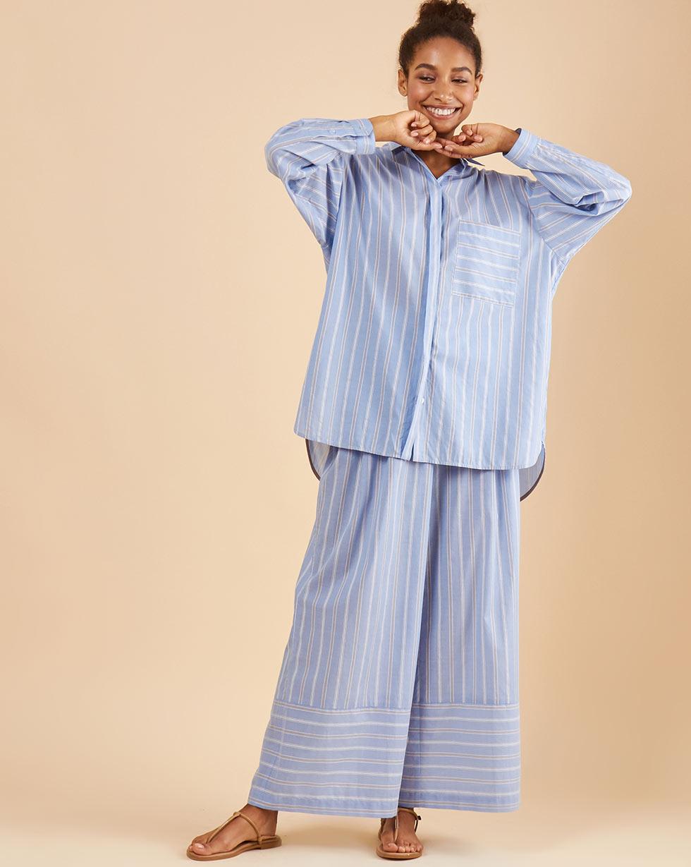 12Storeez Брюки свободные (полоска голубая) 12storeez блуза свободная серо голубая полоска