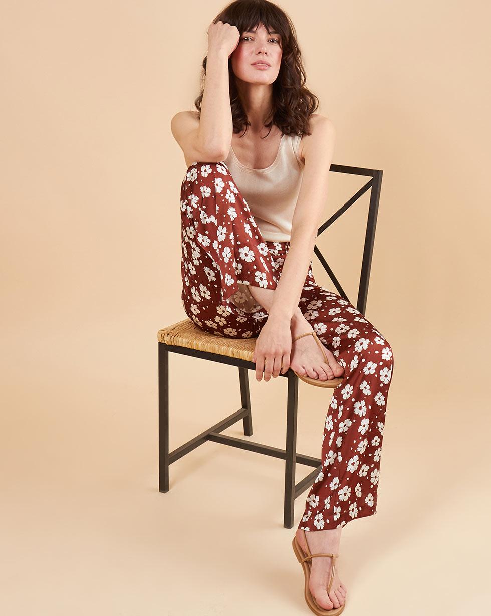 12Storeez Брюки свободные в пижамном стиле (коричневый с белым цветком) ostin свободные брюки из вискозы