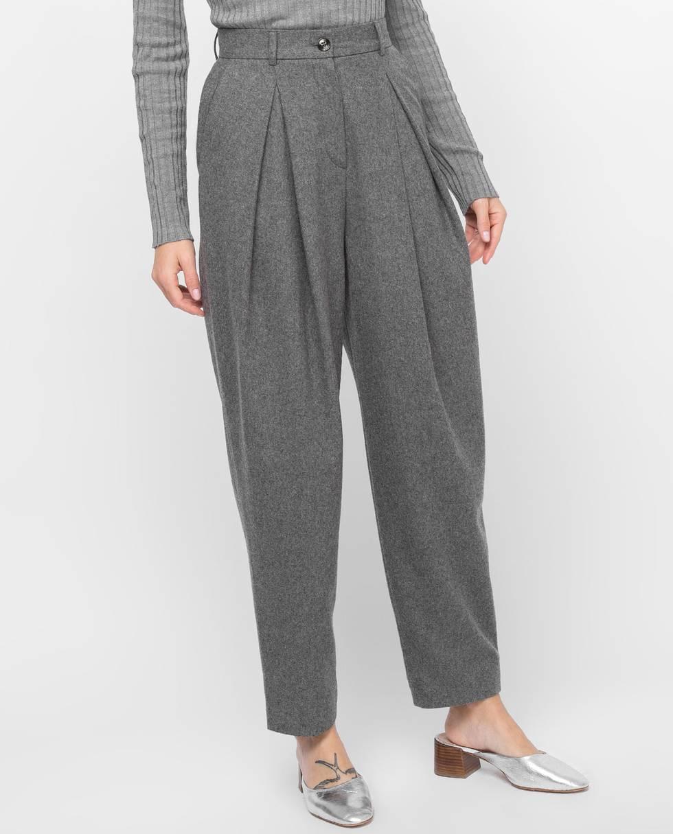 12Storeez Брюки со складками (темно-серые) брюки с завышенной талией и поясом и складками