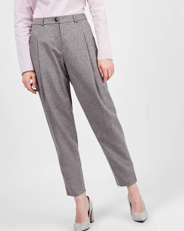 Брюки с молниями SБрюки<br><br><br>Артикул: 22086894<br>Размер: S<br>Цвет: Серый<br>Новинка: НЕТ<br>Наименование en: Ankle zip wool trousers