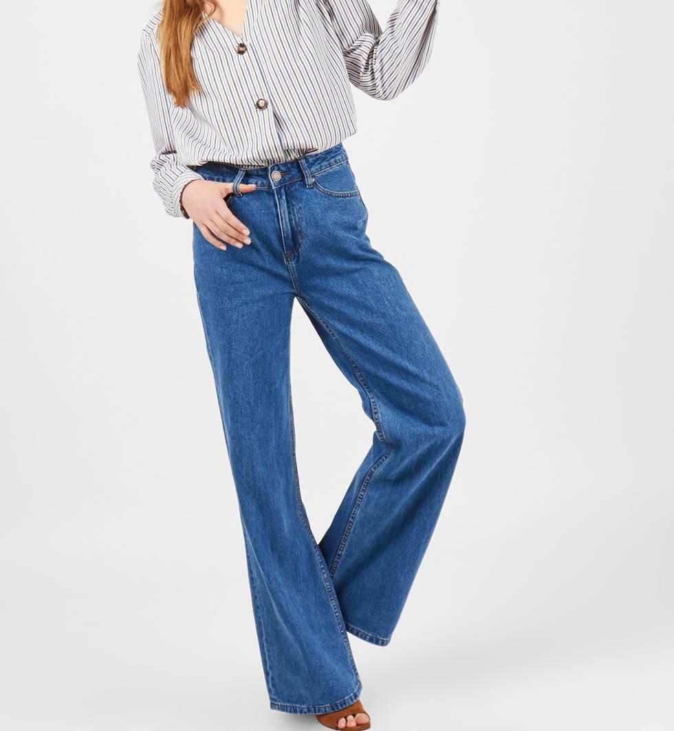 Джинсы широкие с высокой посадкой SБрюки и джинсы<br><br><br>Артикул: 22088376<br>Размер: S<br>Цвет: Голубой<br>Новинка: НЕТ<br>Наименование en: High waisted wide leg jeans