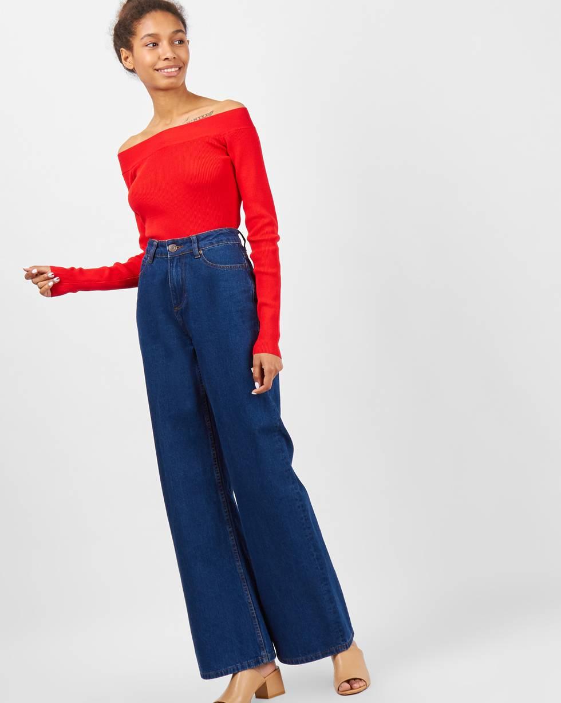 Джинсы широкие с высокой посадкой Mбрюки<br><br><br>Артикул: 22088379<br>Размер: M<br>Цвет: Темно-синий<br>Новинка: НЕТ<br>Наименование en: High waisted wide leg jeans