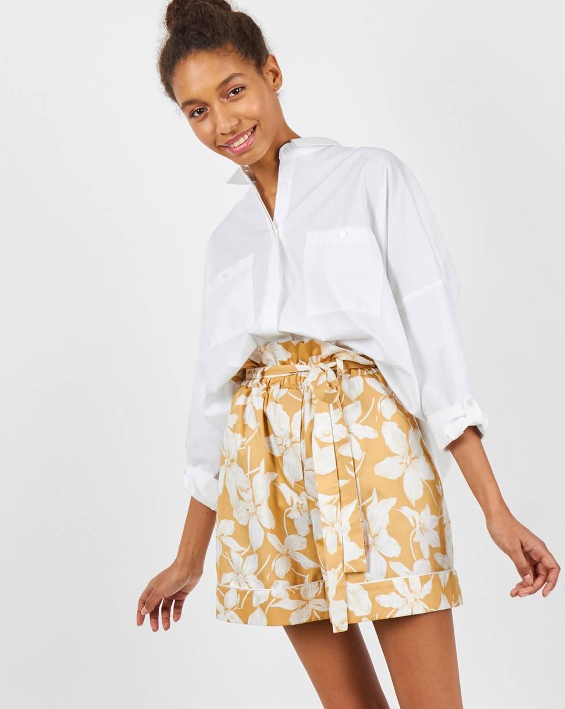 Шорты с кантом в цветок MБрюки и джинсы<br><br><br>Артикул: 22088641<br>Размер: M<br>Цвет: Бежевый<br>Новинка: НЕТ<br>Наименование en: Floral print piped shorts