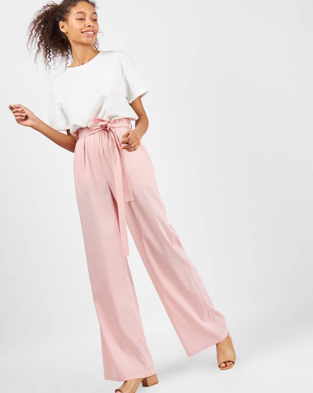 12Storeez Брюки широкие в полоску (персиковые) брюки широкие с высоким поясом