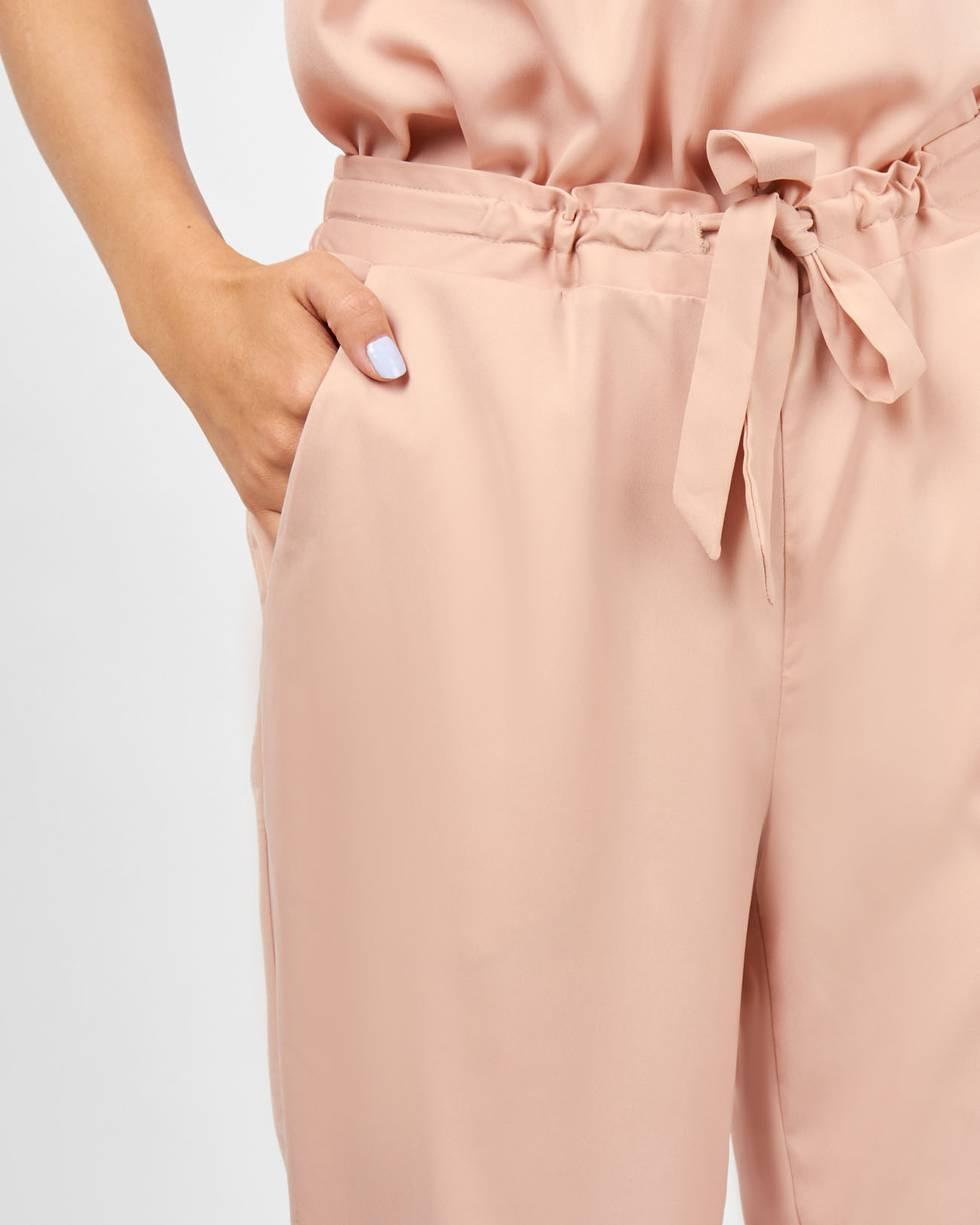 12Storeez Брюки широкие в пижамном стиле (бежевый) 12storeez блуза объемная на завязках бежевый