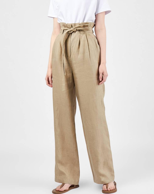 12Storeez Брюки широкие изо льна (бежевые) брюки широкие с высоким поясом