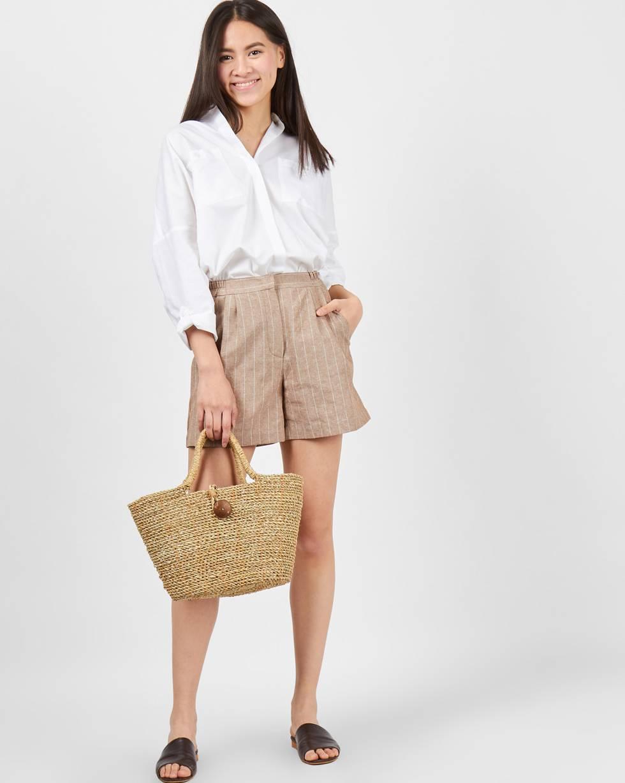 Шорты изо льна в полоску Sбрюки<br><br><br>Артикул: 22089536<br>Размер: S<br>Цвет: Бежевый<br>Новинка: НЕТ<br>Наименование en: Striped linen shorts