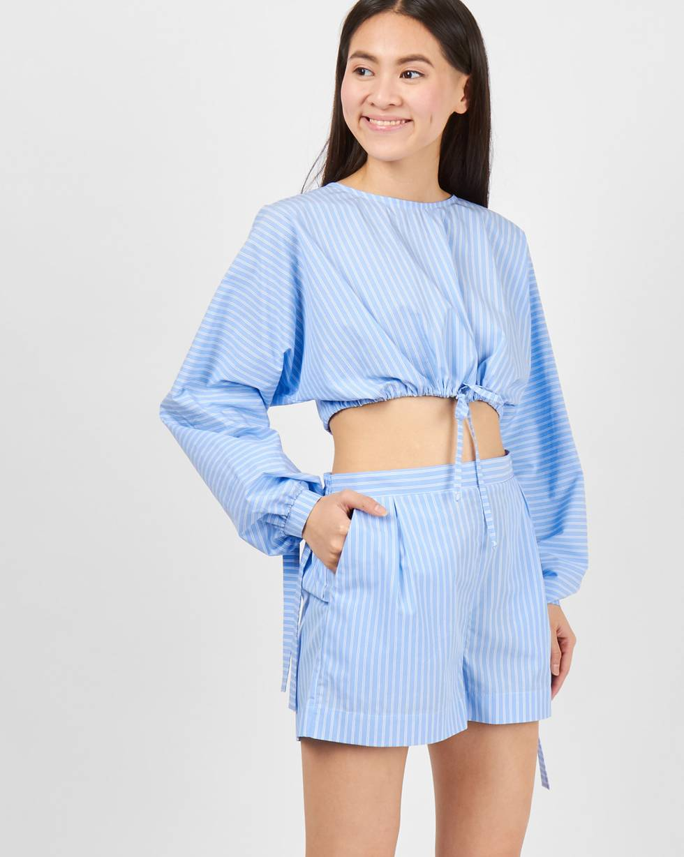 Шорты пижамные в полоску XSбрюки<br><br><br>Артикул: 22089553<br>Размер: XS<br>Цвет: Голубой<br>Новинка: ДА<br>Наименование en: Stripe pyjama style shorts