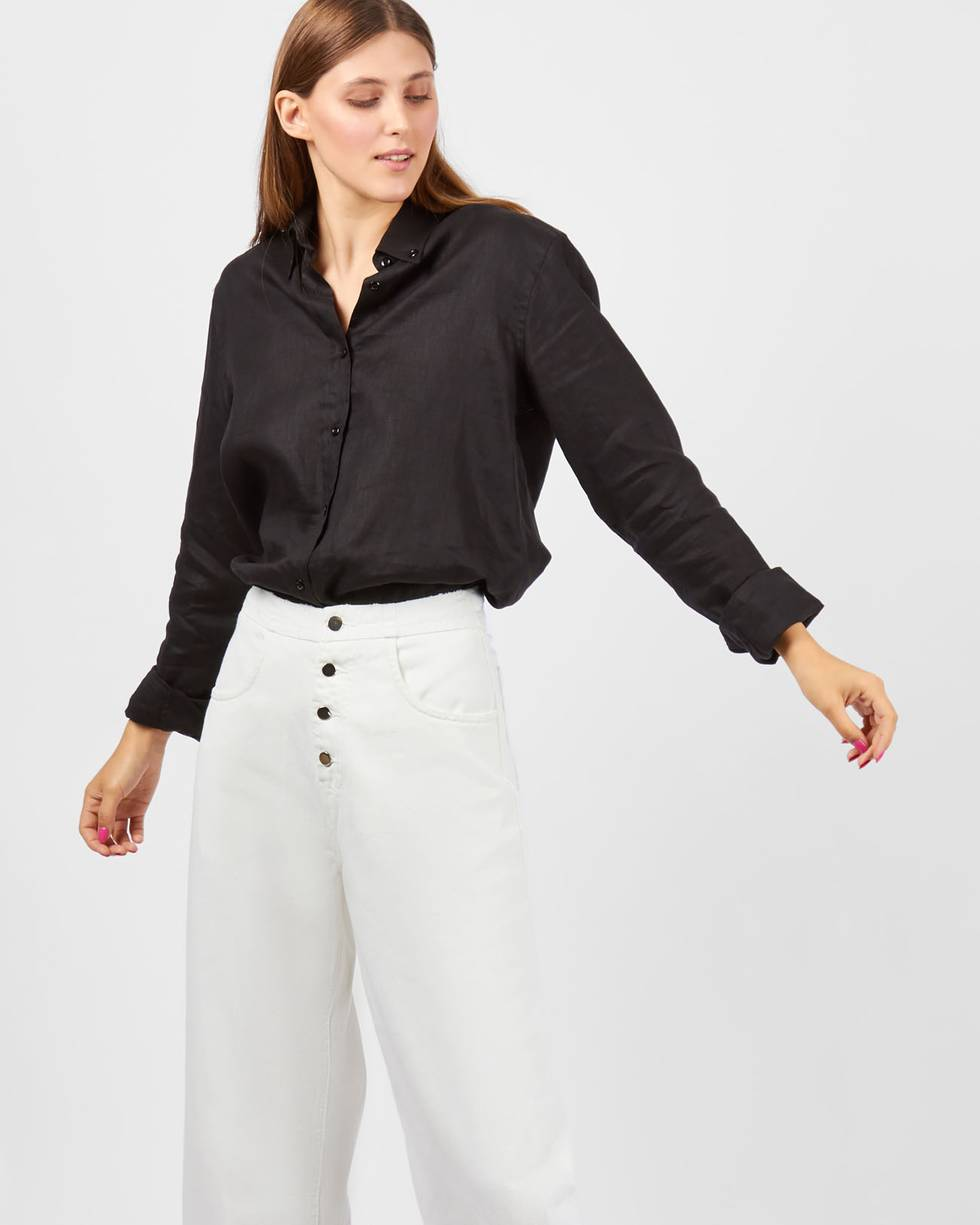Джинсы широкие с застежкой на пуговицы MБрюки и джинсы<br><br><br>Артикул: 22089873<br>Размер: M<br>Цвет: Белый<br>Новинка: НЕТ<br>Наименование en: High waisted button fly jeans