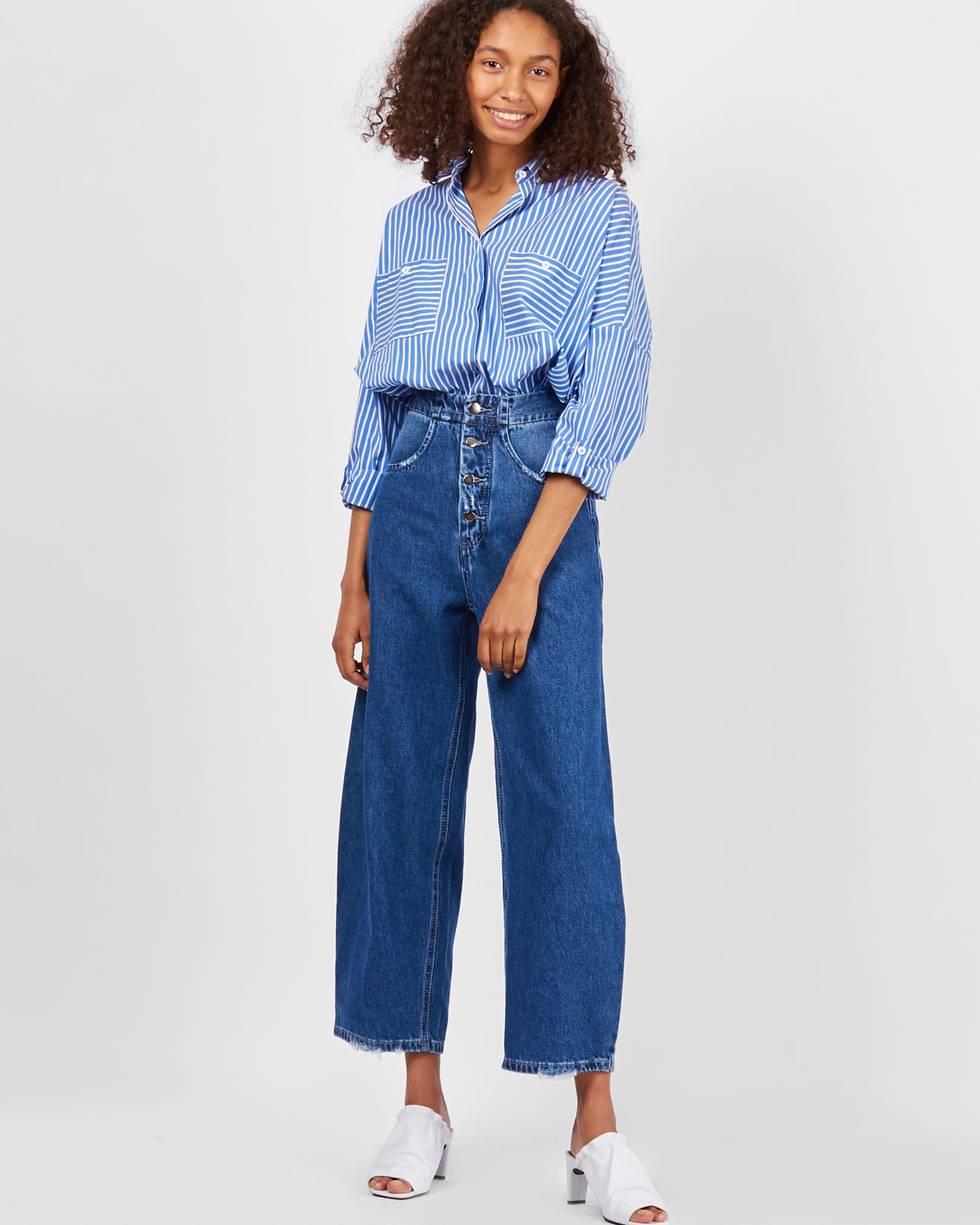 Джинсы широкие с застежкой на пуговицы SБрюки<br><br><br>Артикул: 22089879<br>Размер: S<br>Цвет: Синий<br>Новинка: НЕТ<br>Наименование en: High waisted button fly jeans