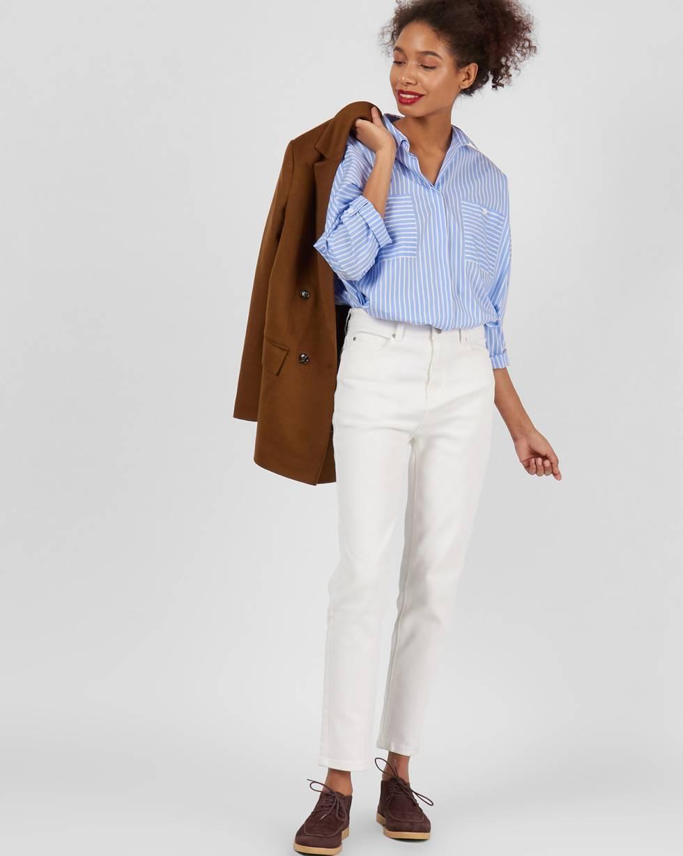 Джинсы классические XSБрюки<br><br><br>Артикул: 22089889<br>Размер: XS<br>Цвет: Белый<br>Новинка: НЕТ<br>Наименование en: High waist straight leg jeans