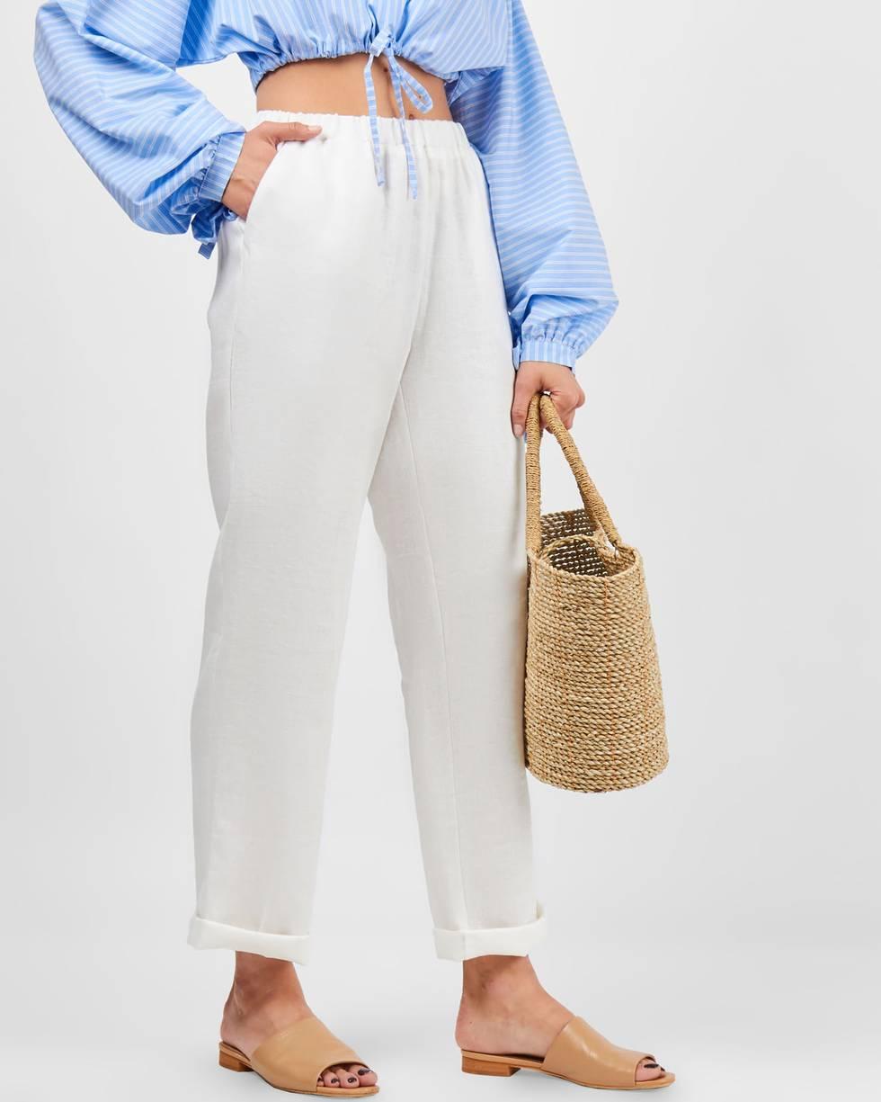 Брюки на резинке укороченные LБрюки и джинсы<br><br><br>Артикул: 22089965<br>Размер: L<br>Цвет: Молочный<br>Новинка: НЕТ<br>Наименование en: Elasticated waist crop trousers