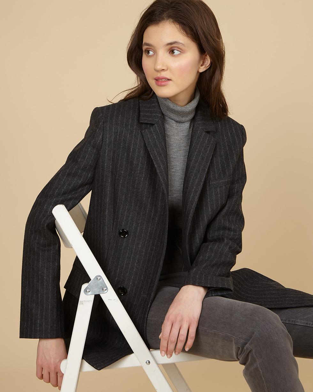12Storeez Пиджак двубортный из плотной шерсти (темно-серый)