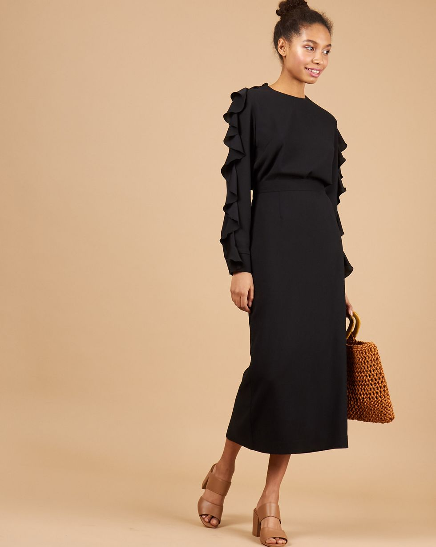 12STOREEZ Комплект: Блуза с воланами и юбка миди