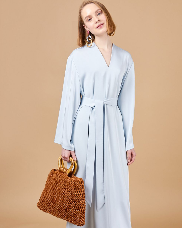12STOREEZ Платье макси свободного кроя на поясе платье alina assi платья и сарафаны свободного кроя