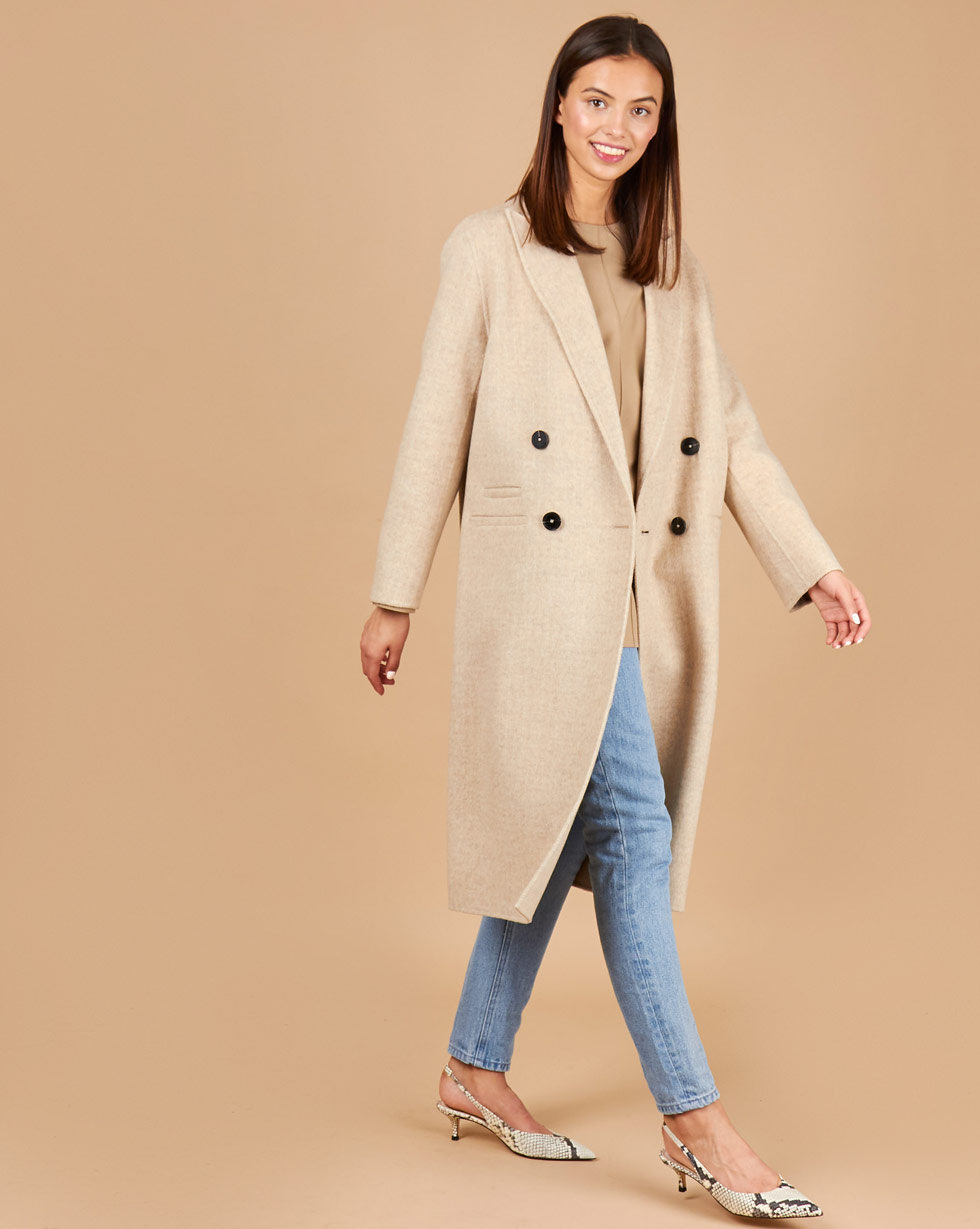12STOREEZ Пальто двубортное с фигурным воротником