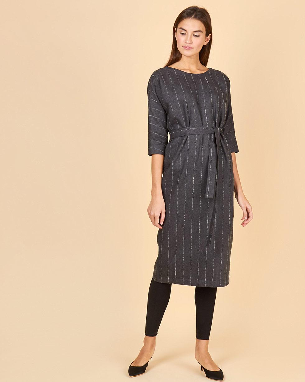12STOREEZ Платье миди с вырезом и пуговицами сзади в полоску