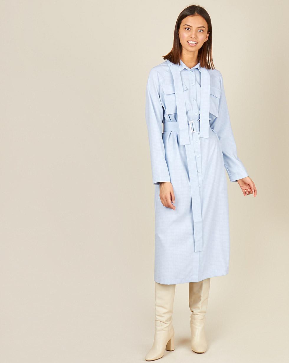 12⠀STOREEZ Платье-рубашка с поясом на воротнике