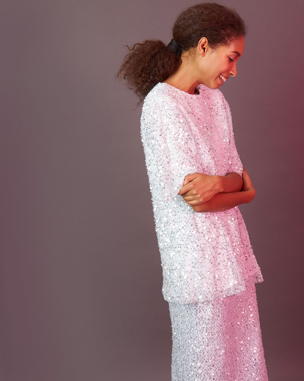 12STOREEZ Топ из ткани гофре с пайетками 12storeez платье пелерина из сетки гофре