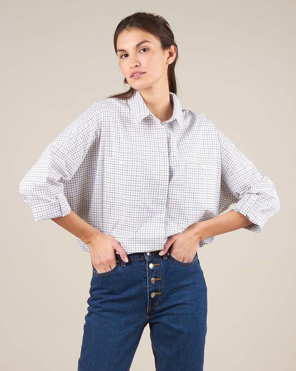 12⠀STOREEZ Рубашка с карманами в клетку