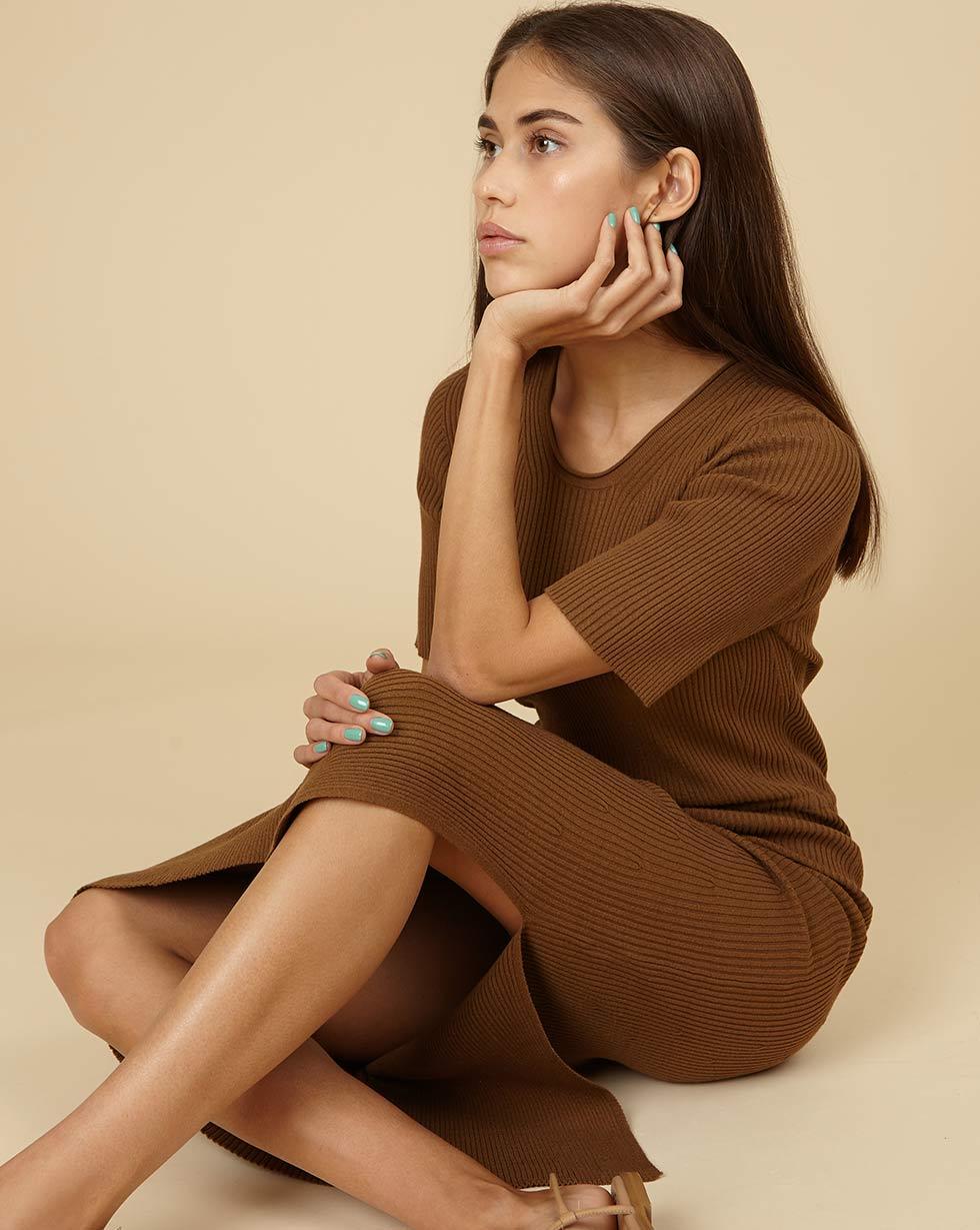 12STOREEZ Трикотажное платье с коротким рукавом
