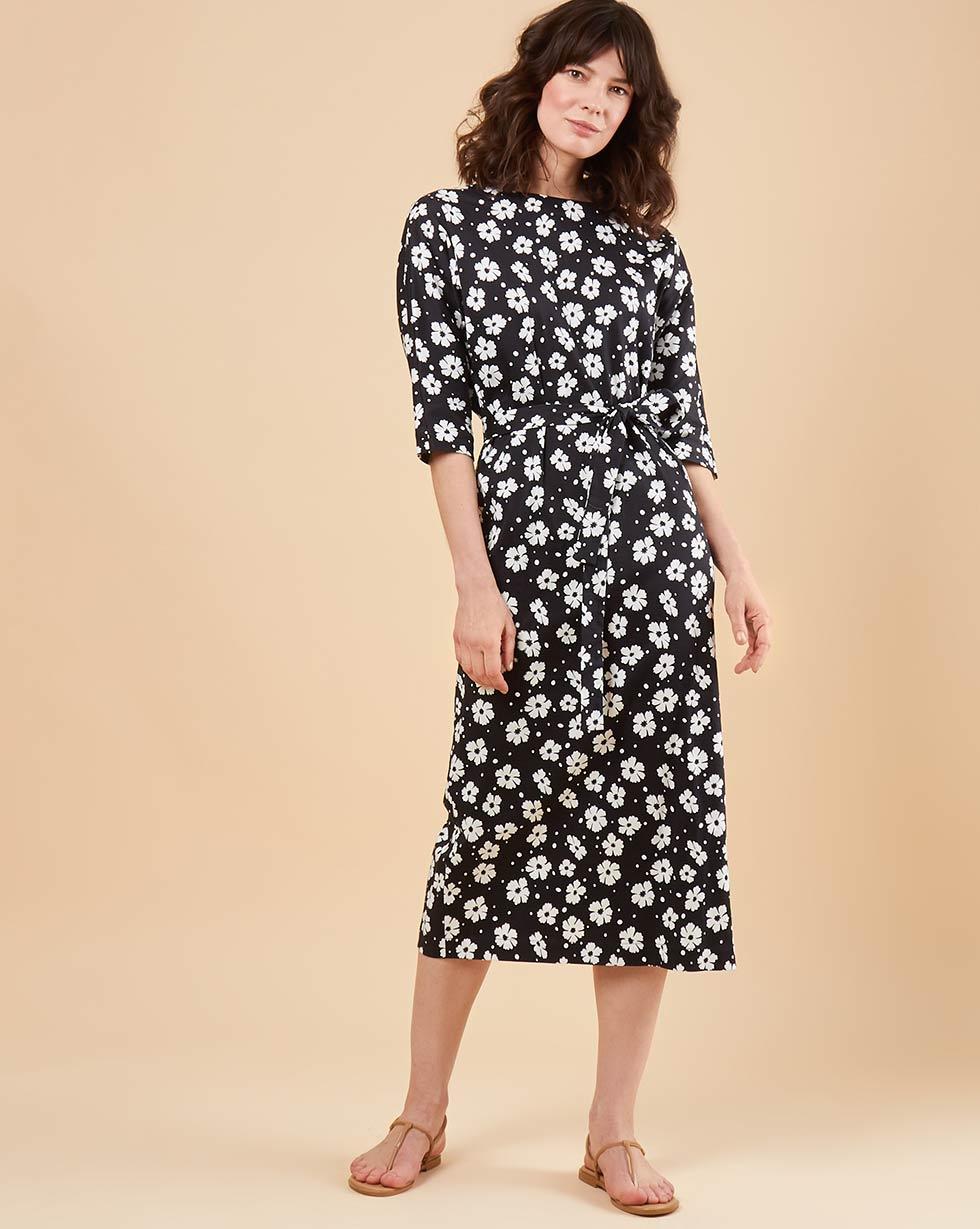 12STOREEZ Платье миди с вырезом и пуговицами сзади в цветок