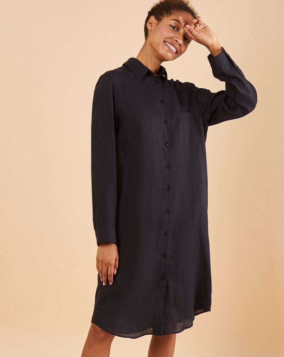 цена 12STOREEZ Платье-рубашка льняное онлайн в 2017 году