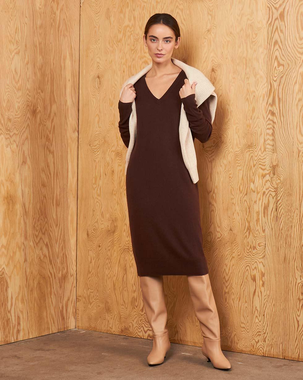 Платье с V-образным вырезом из кашемира и шерсти S фото