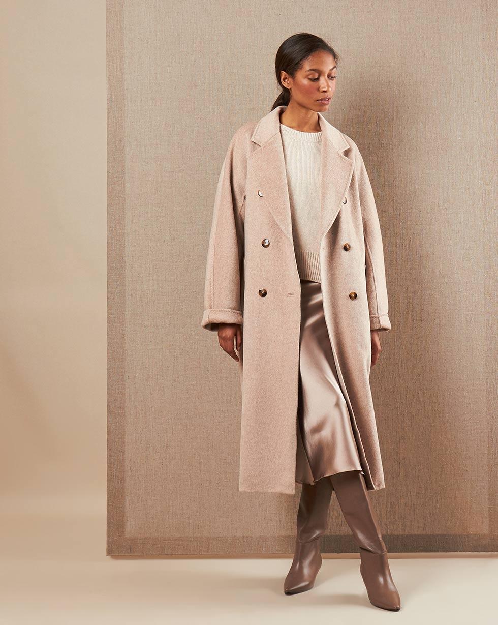 12⠀STOREEZ Пальто двубортное на поясе с шелком 12⠀storeez пальто двубортное на поясе