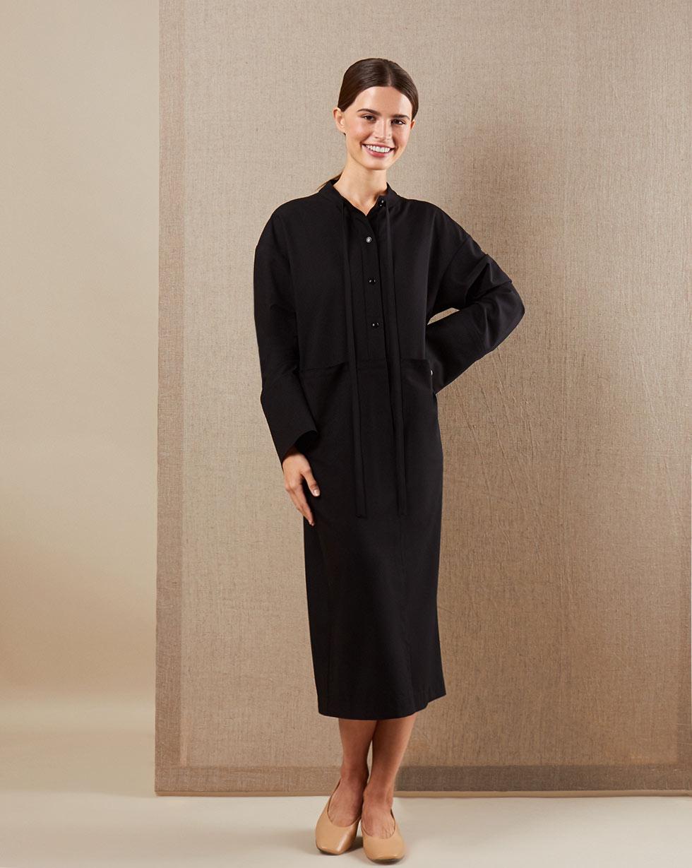 12STOREEZ Платье с удлинёнными рукавами 12storeez платье приталенное с длинными рукавами