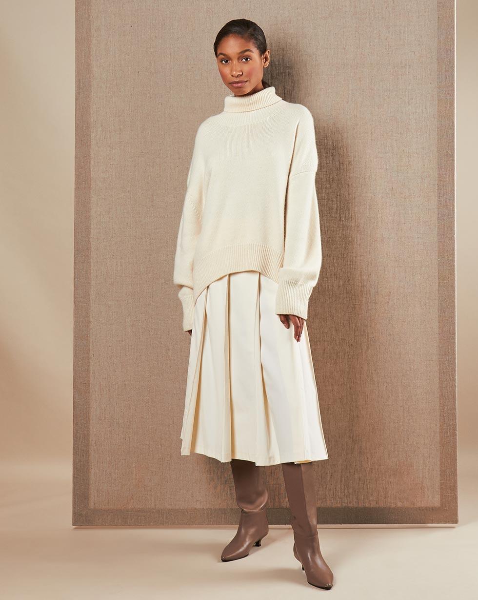 Фото - 12⠀STOREEZ Юбка с широкими складками с отстрочками 12storeez юбка миди со складками спереди