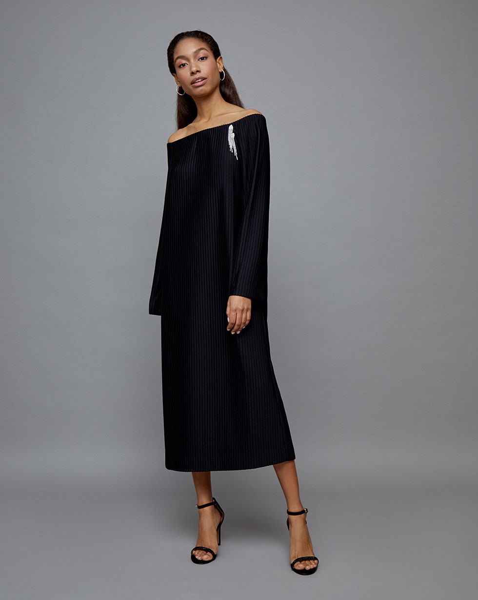 12STOREEZ Платье из ткани гофре 12storeez платье пелерина из сетки гофре