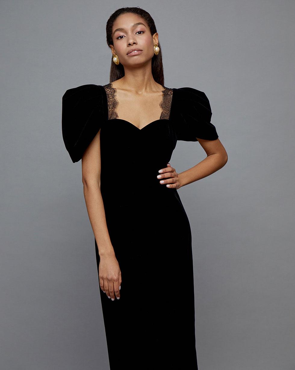 цена 12STOREEZ Платье миди из бархата, с кружевом онлайн в 2017 году