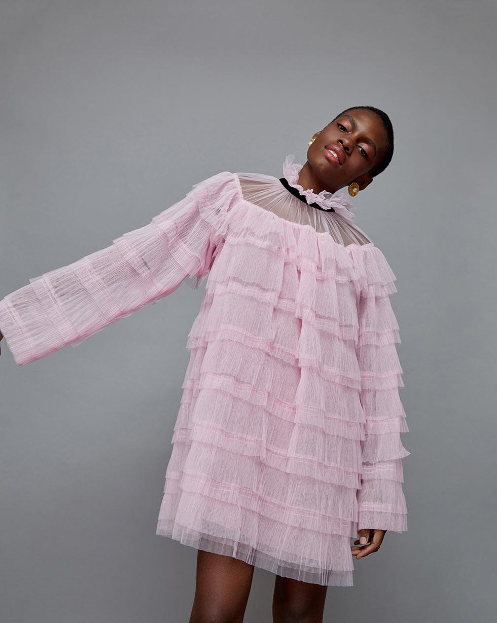 12STOREEZ Платье-пелерина из сетки гофре платье футляр с оборкой из сетки red valentino