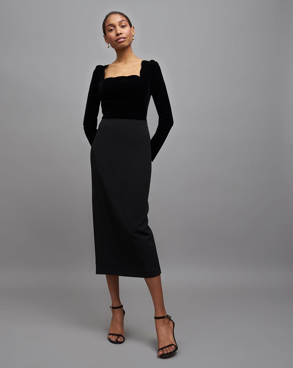 12STOREEZ Платье с бархатным лифом