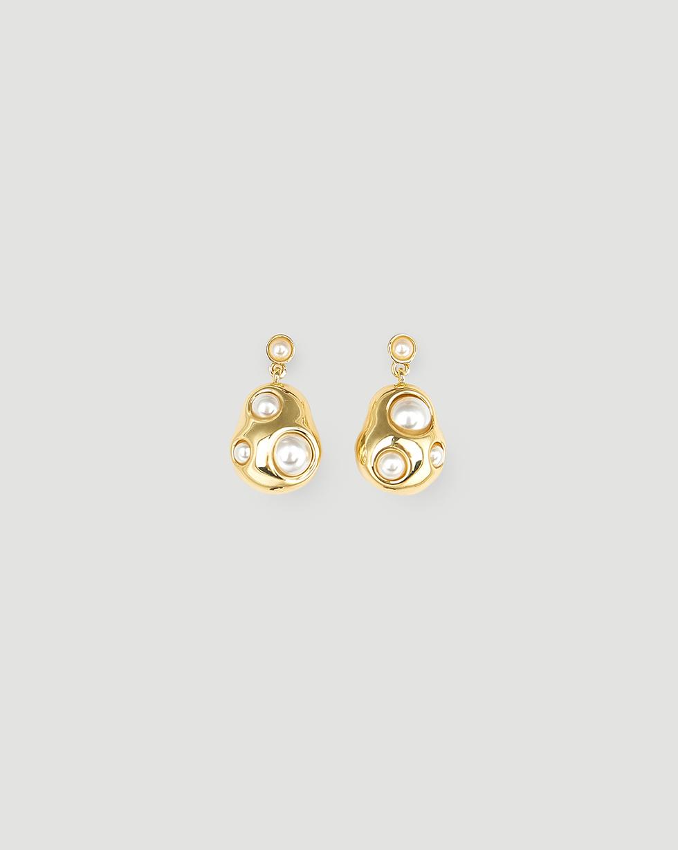 12⠀STOREEZ Серьги с белым декоративным жемчугом, покрытые золотом