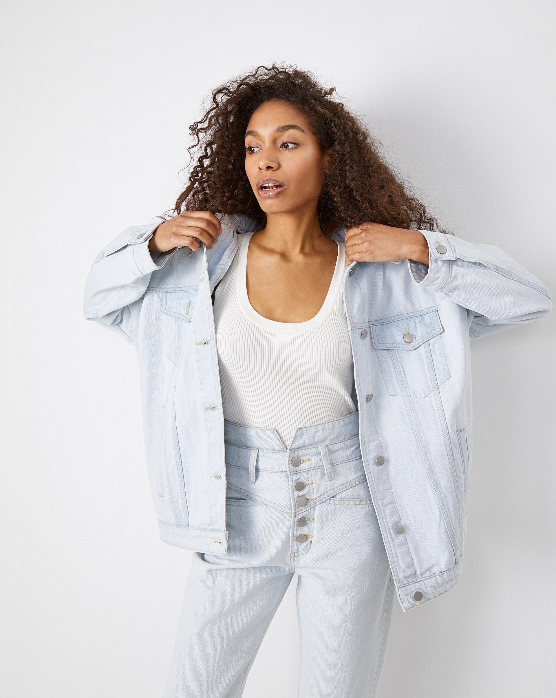 Объемная джинсовая куртка 12STOREEZ. Цвет: светло-голубой