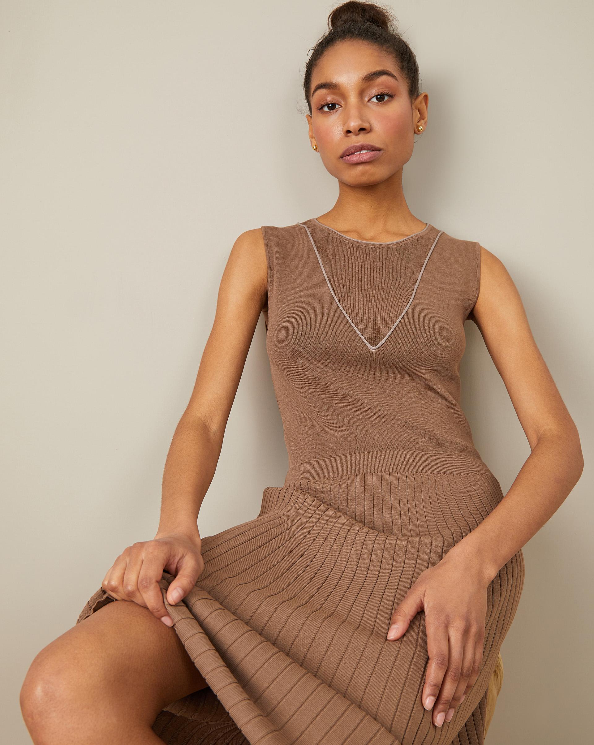 Платье с юбкой плиссе M фото