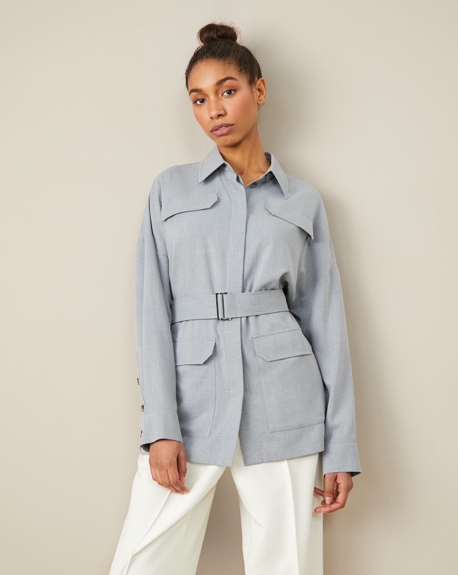 цена 12STOREEZ Блуза с поясом и накладными карманами онлайн в 2017 году