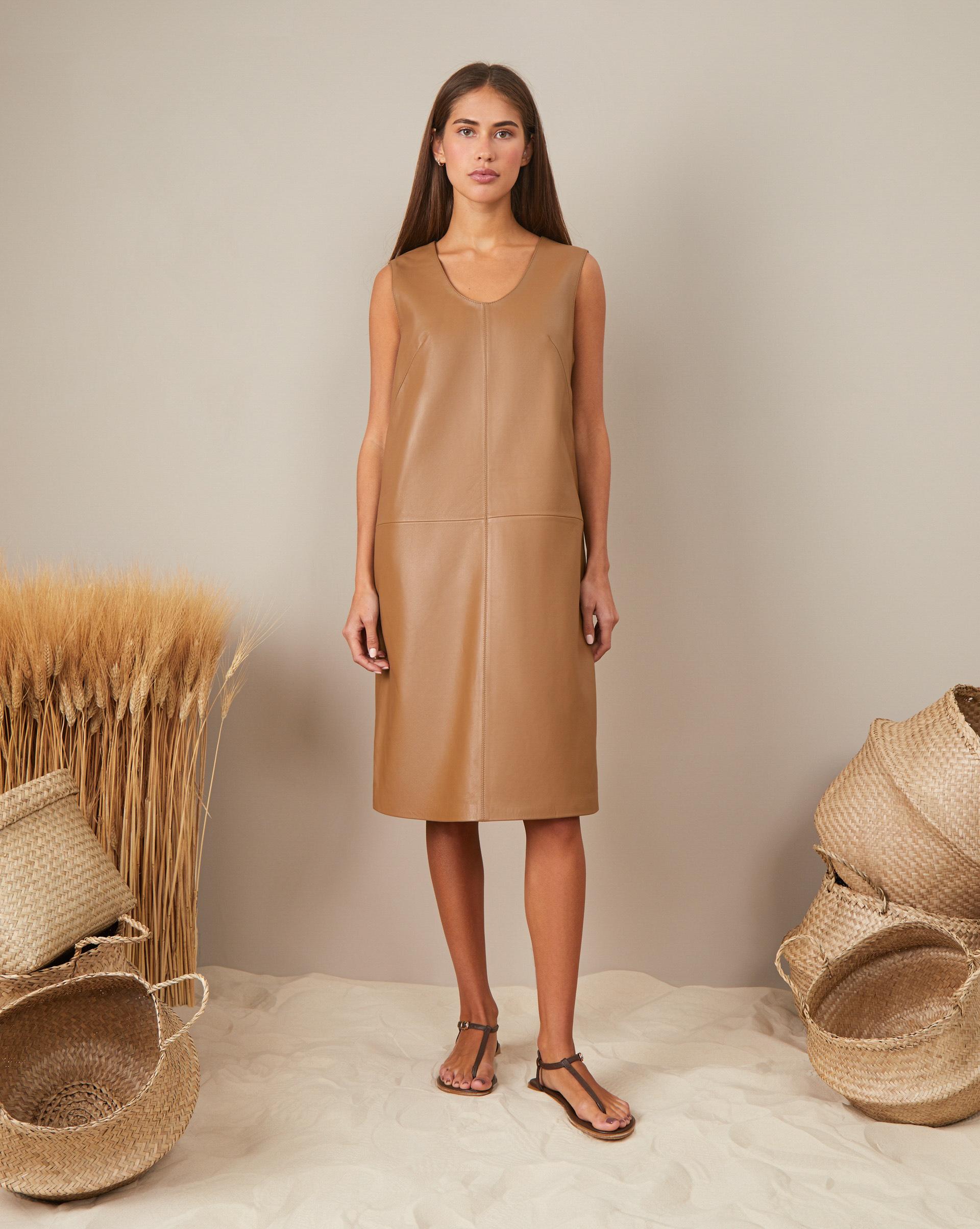 12STOREEZ Кожаное платье без рукава свободное платье с 2 мя карманами yarmina