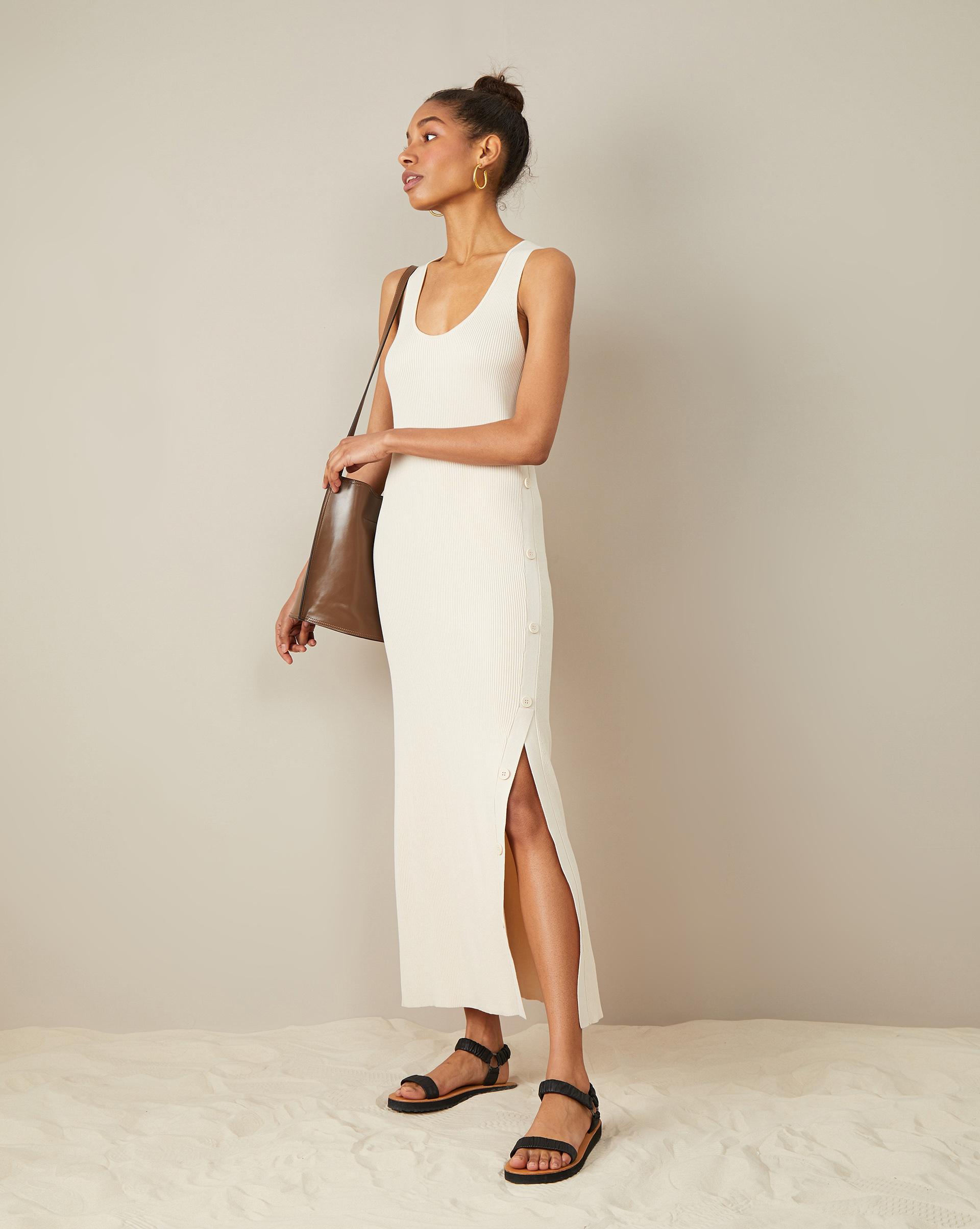 Трикотажное платье с разрезом S фото