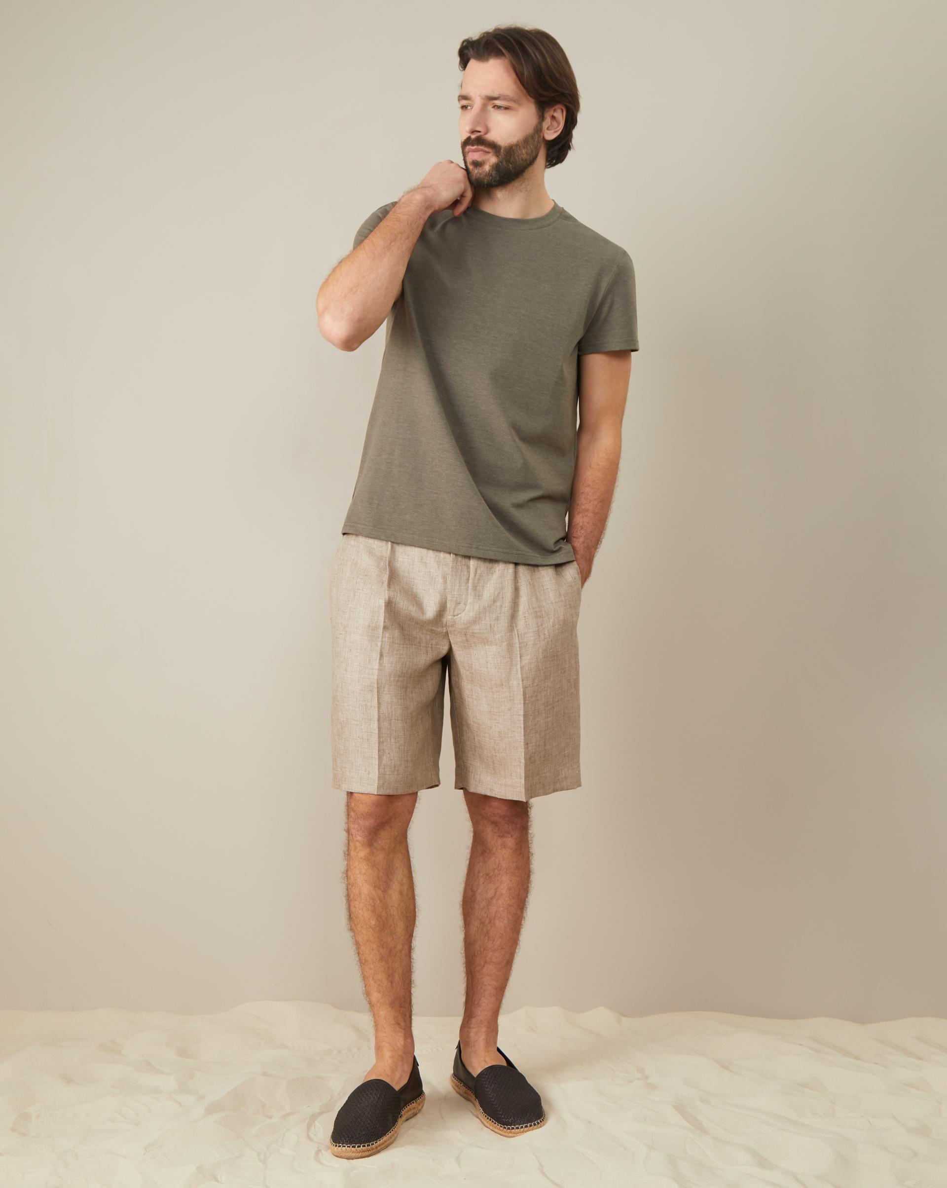 шорты со складками 12STOREEZ Шорты льняные со складками
