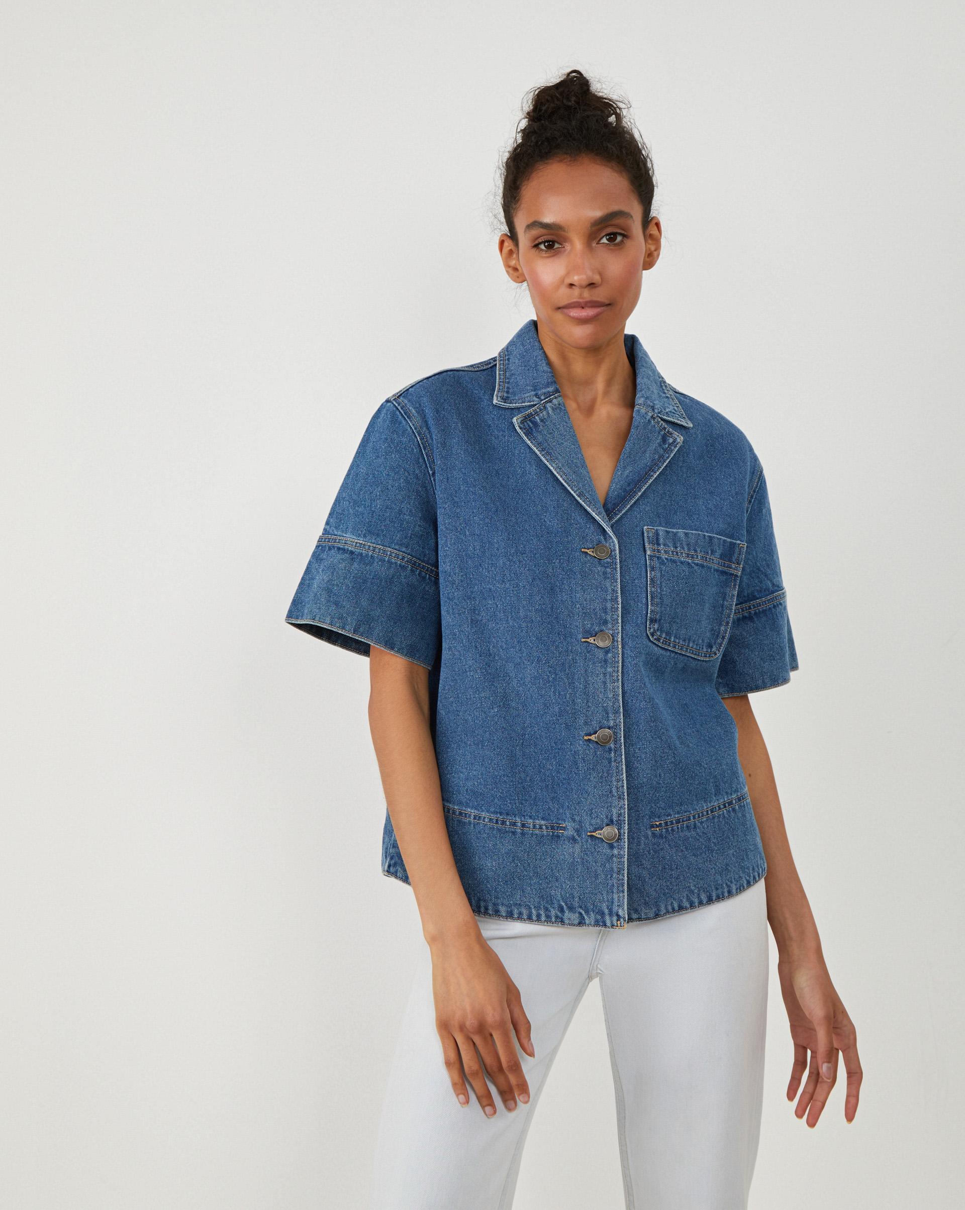 Рубашка из денима, с коротким рукавом XS фото